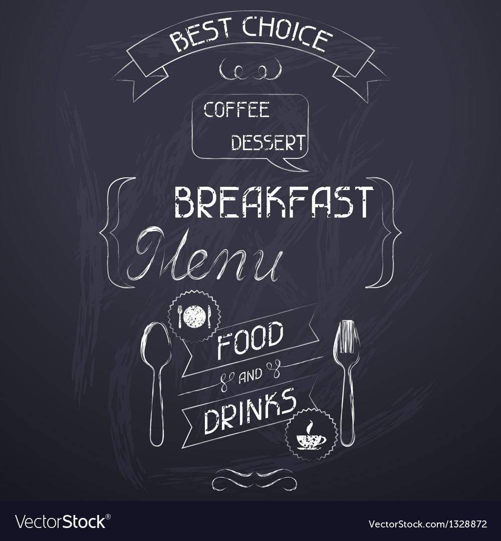 Breakfast on the restaurant menu chalkboard vector | Price: 1 Credit (USD $1)