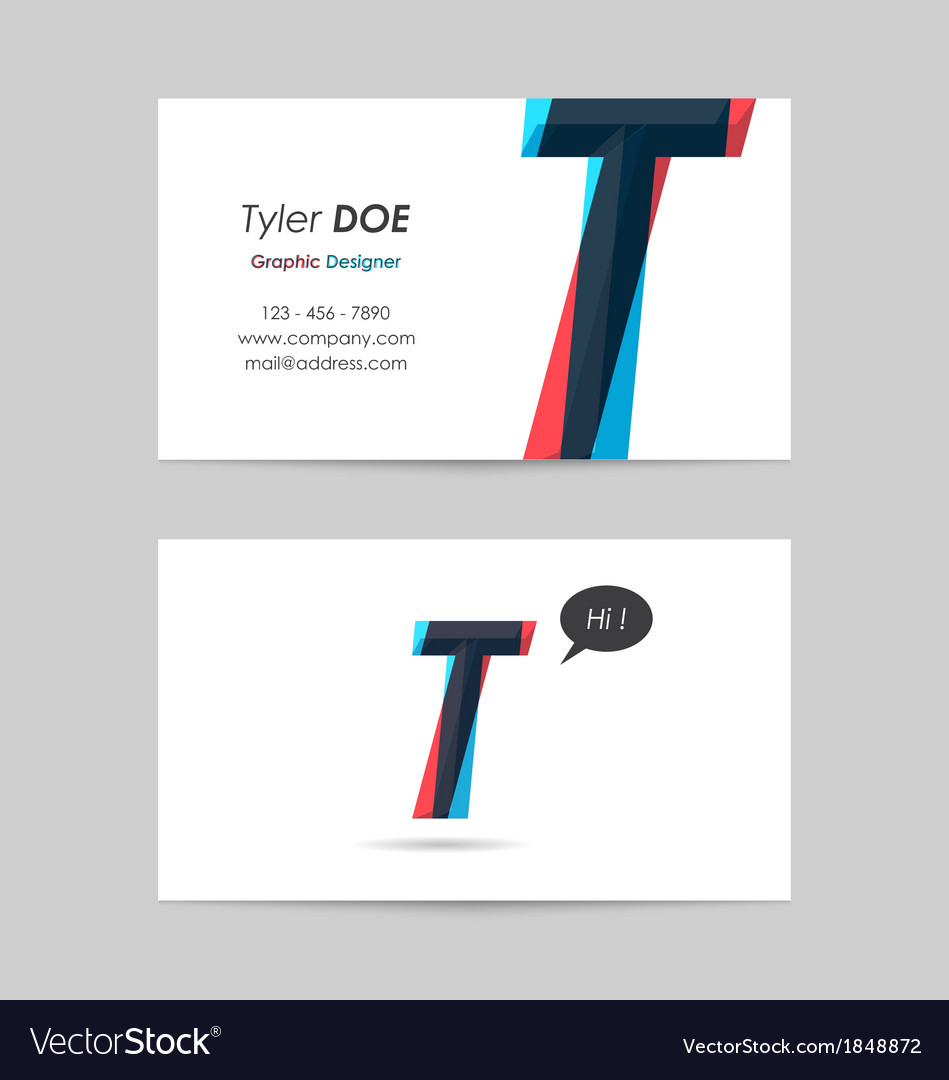 Business card template - letter t vector | Price: 1 Credit (USD $1)