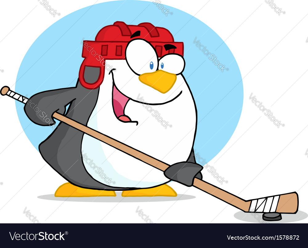 Cartoon penguin playing hockey vector | Price: 1 Credit (USD $1)