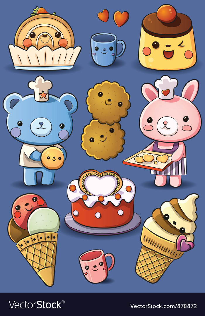 Cute cakes and ice cream vector   Price: 3 Credit (USD $3)