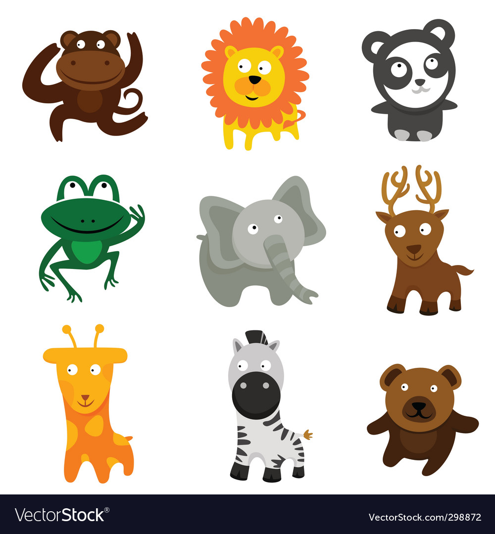 Cute wild animals vector | Price: 3 Credit (USD $3)