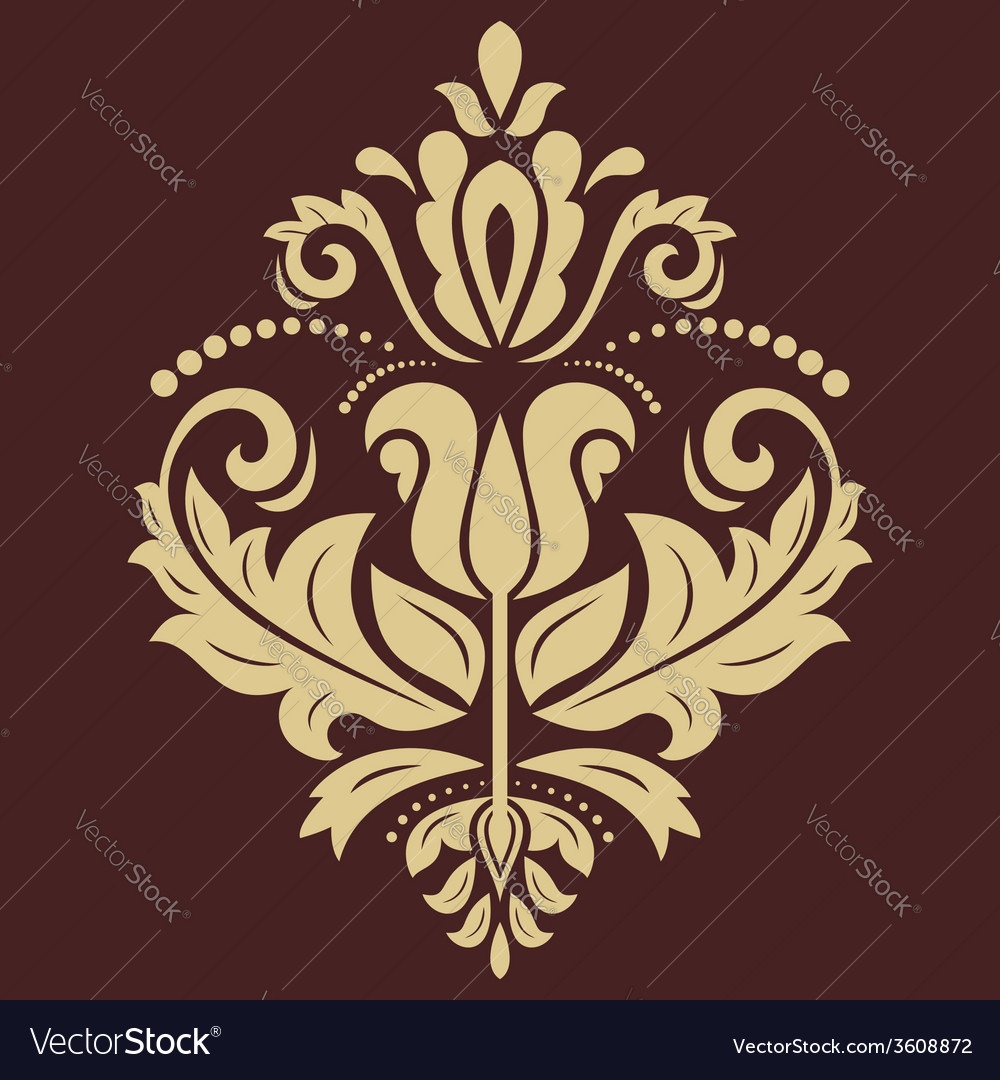 Damask golden pattern orient ornament vector | Price: 1 Credit (USD $1)
