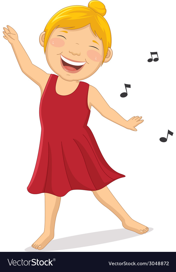 Happy girl dancing vector | Price: 1 Credit (USD $1)
