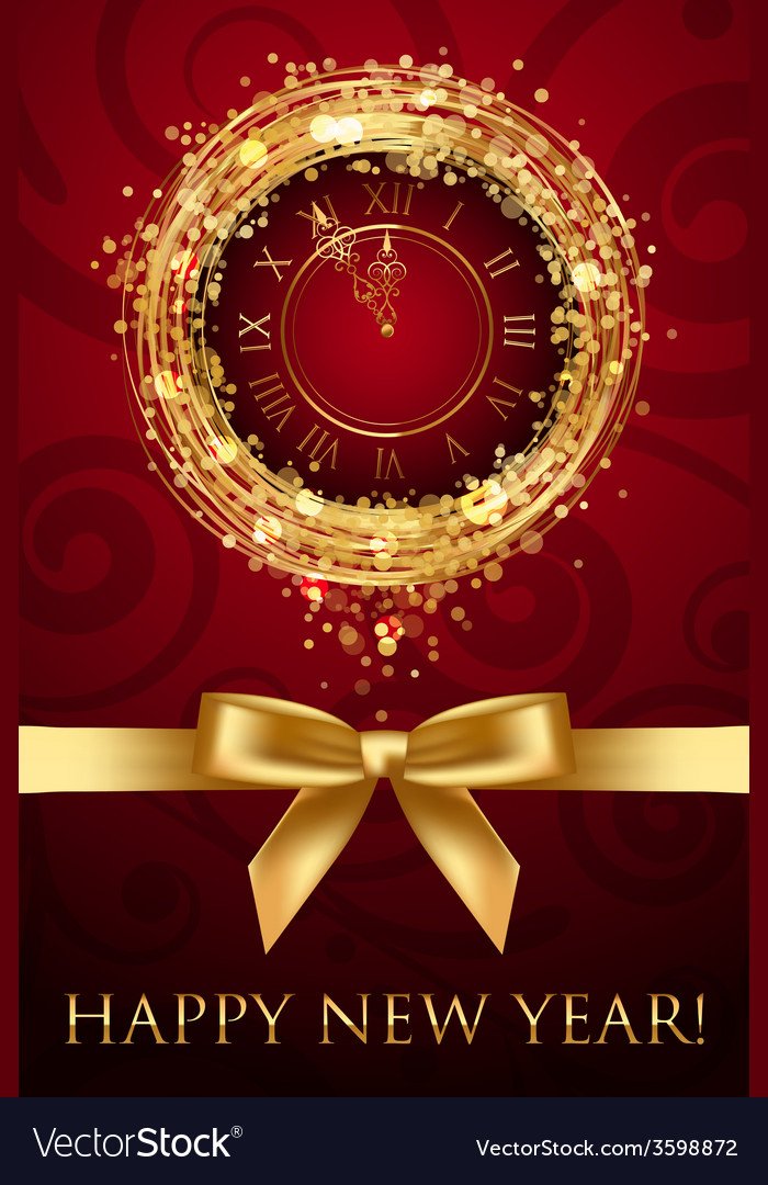 Happy new year card with clock and ribbbon vector | Price: 1 Credit (USD $1)