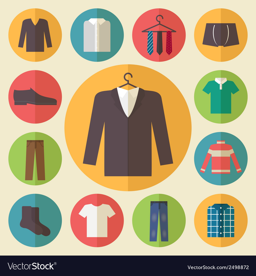 Man clothing icons set vector | Price: 1 Credit (USD $1)