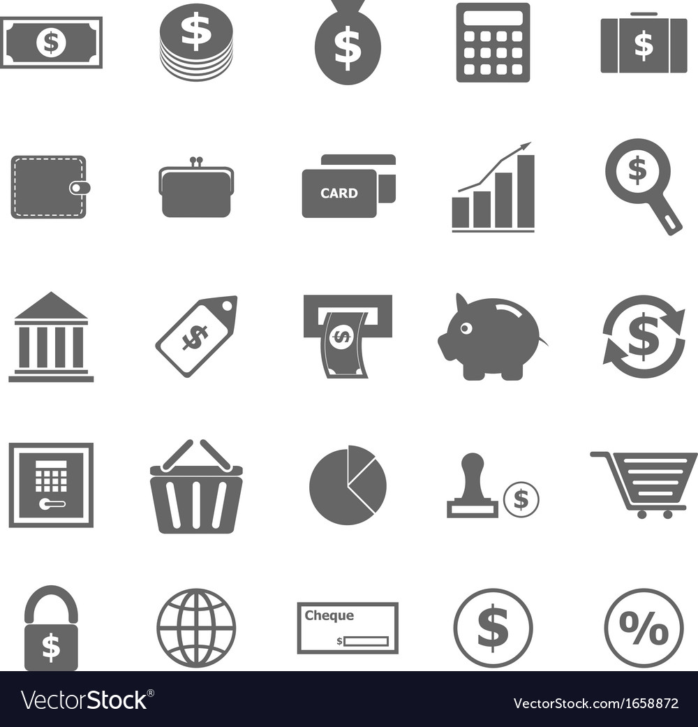 Money icons on white background vector | Price: 1 Credit (USD $1)