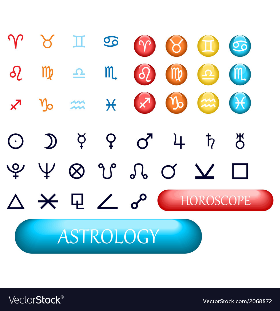 Set of zodiac signs and planets vector | Price: 1 Credit (USD $1)
