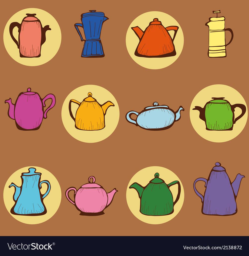 Teapots vector | Price: 1 Credit (USD $1)