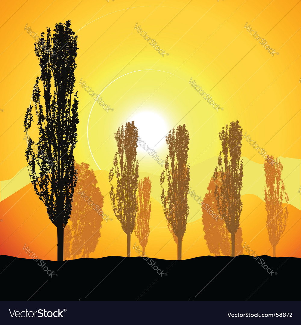 Tree silhouette landscape vector | Price: 1 Credit (USD $1)