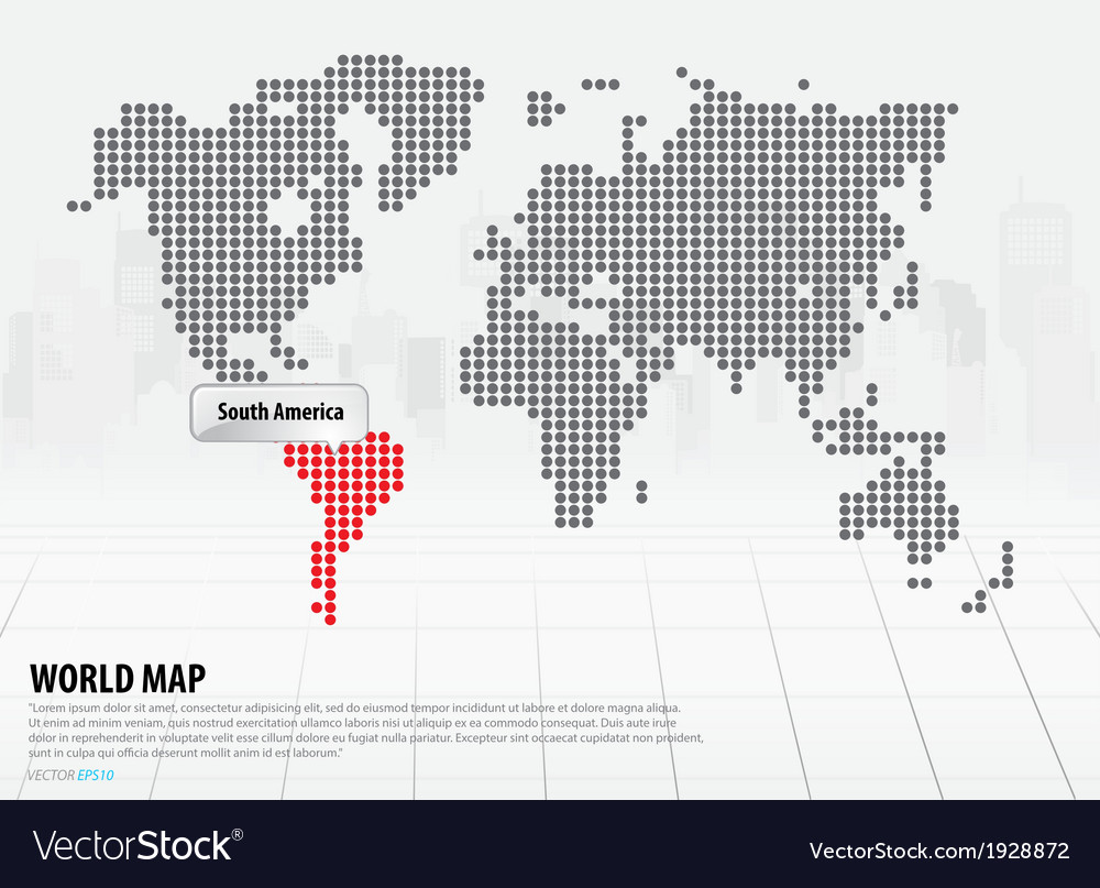 World map with continents south america vector | Price: 1 Credit (USD $1)