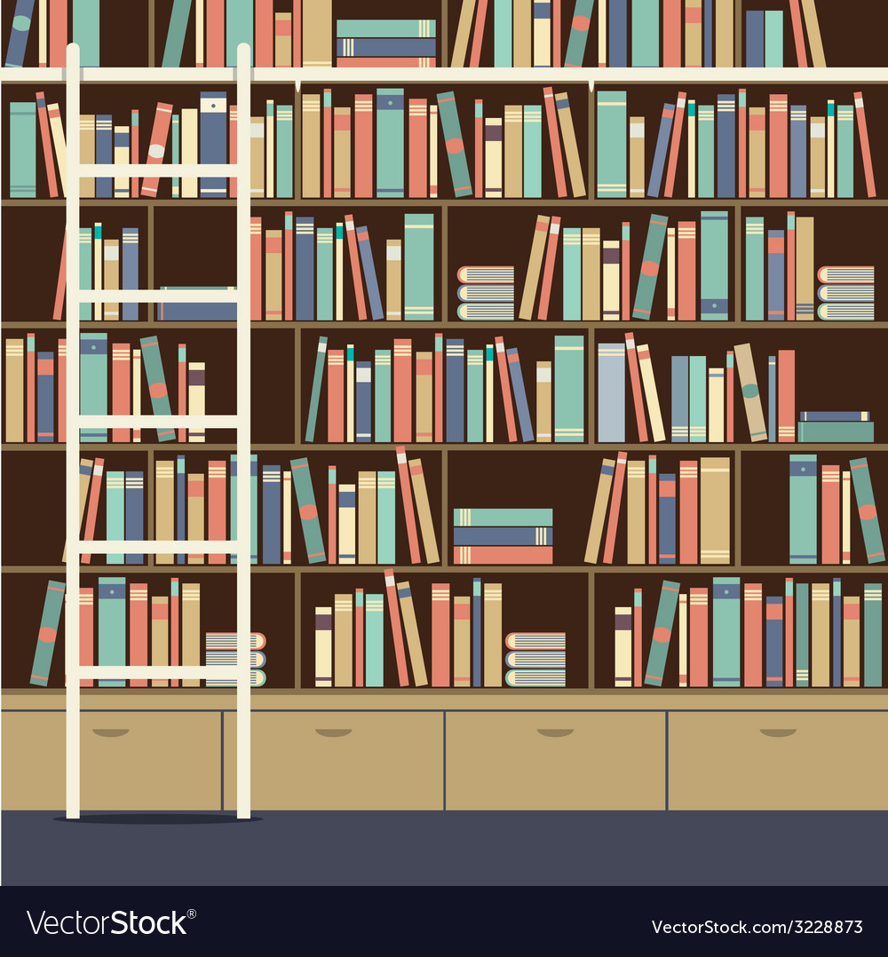 Bookcase with ladder vector | Price: 1 Credit (USD $1)