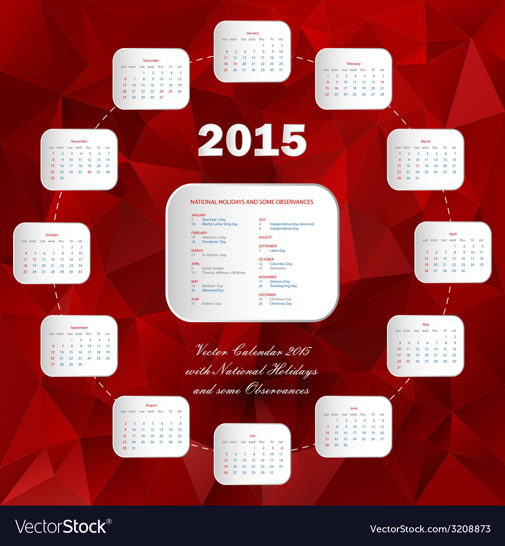 Calendar usa holidays-circle vector | Price: 1 Credit (USD $1)