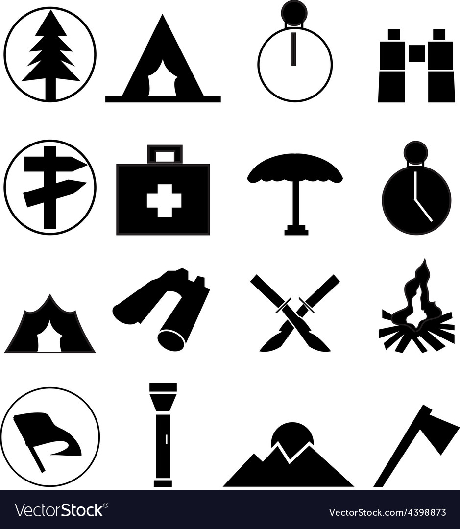 Camping icons set vector | Price: 3 Credit (USD $3)