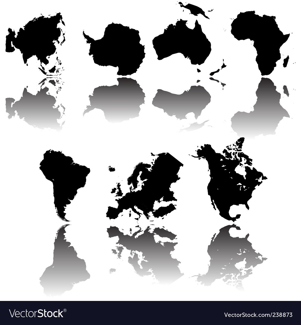 Continents maps vector | Price: 1 Credit (USD $1)