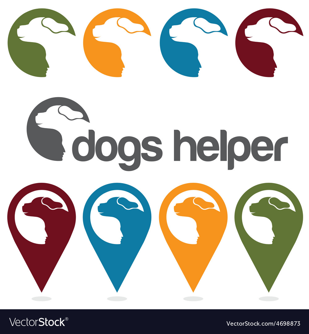 Dogs helper design template pins and web icons set vector | Price: 1 Credit (USD $1)
