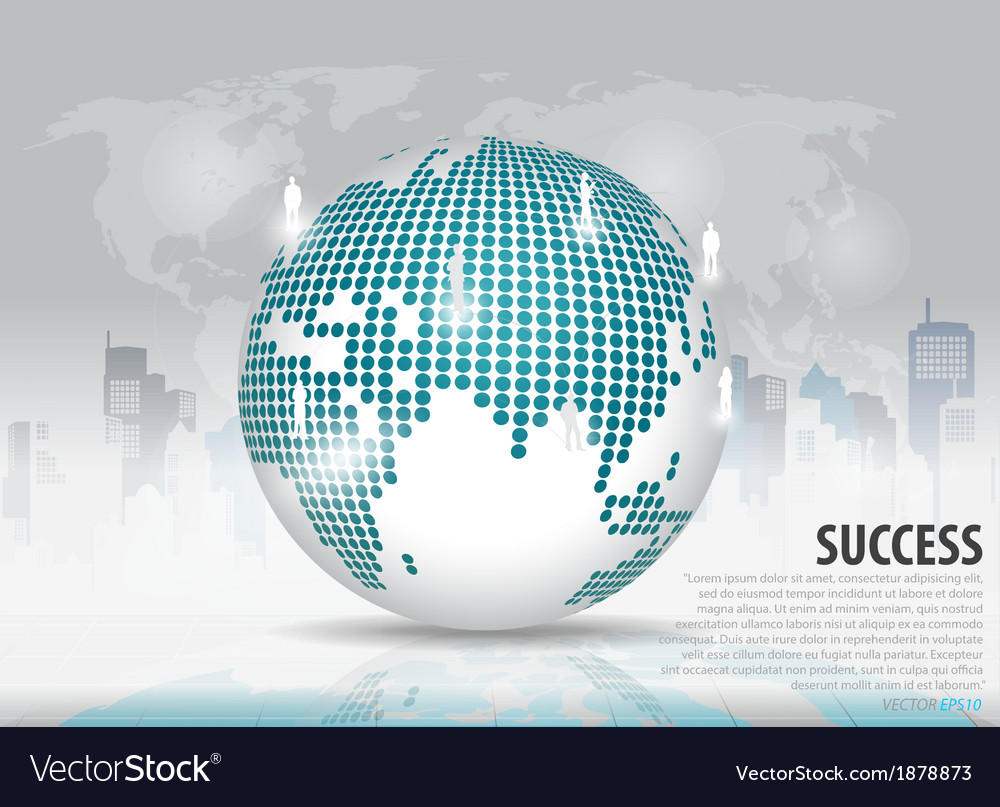 Dotted globe with building background vector | Price: 1 Credit (USD $1)