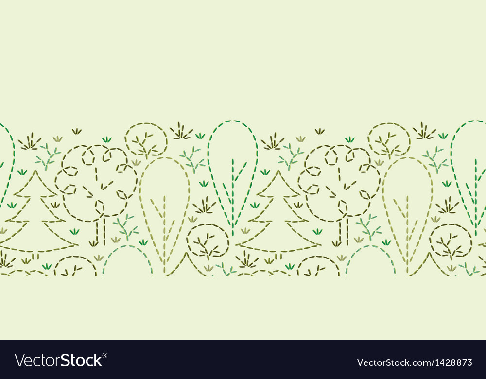 Embroidered forest horizontal seamless pattern vector | Price: 1 Credit (USD $1)
