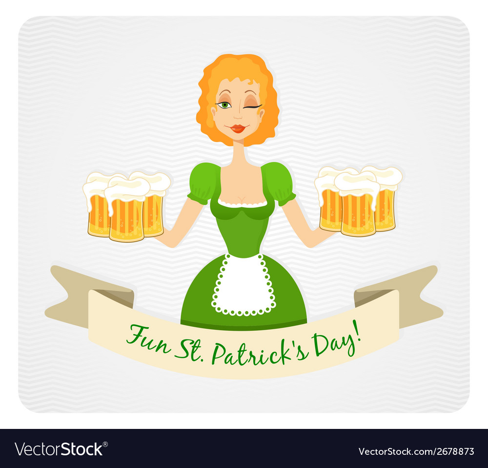 Happy st patricks day card with girl and beer vector | Price: 1 Credit (USD $1)