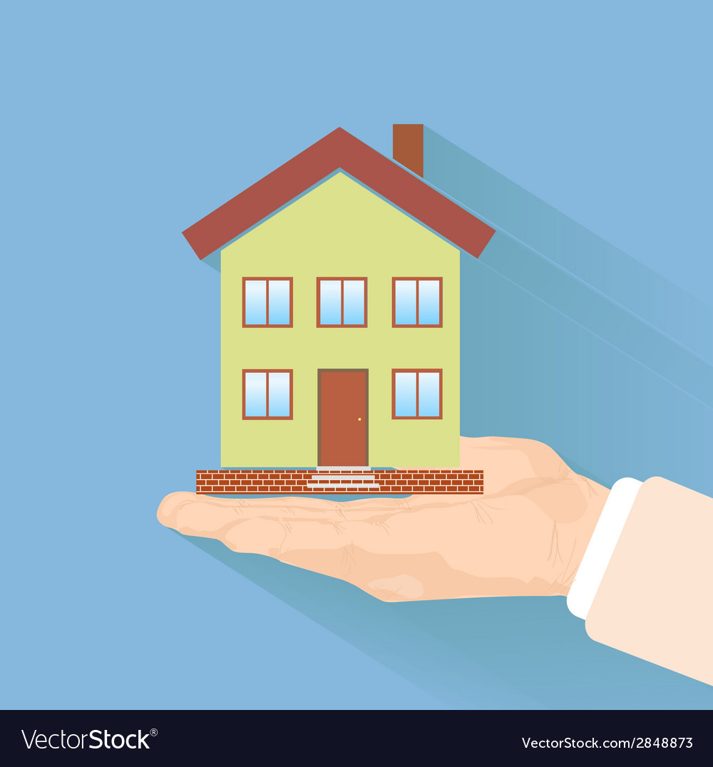 House in human hand vector | Price: 1 Credit (USD $1)