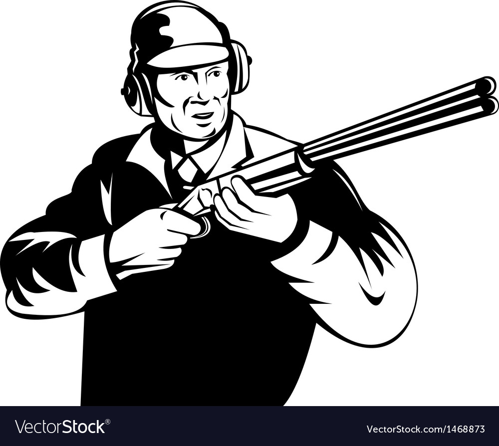 Hunter aiming shotgun rifle vector | Price: 1 Credit (USD $1)