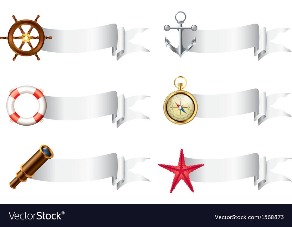 Marine tools white ribbons vector | Price: 1 Credit (USD $1)