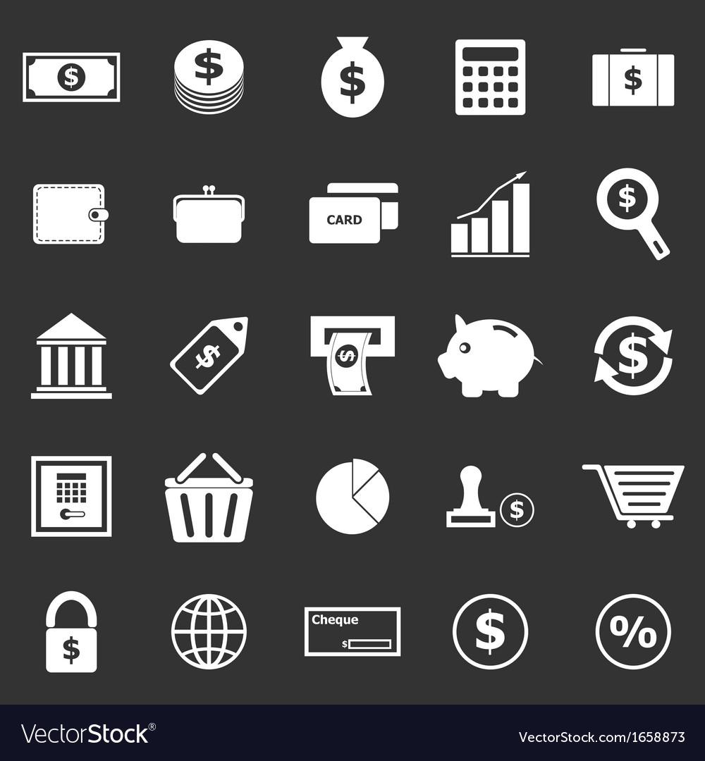 Money icons on black background vector | Price: 1 Credit (USD $1)