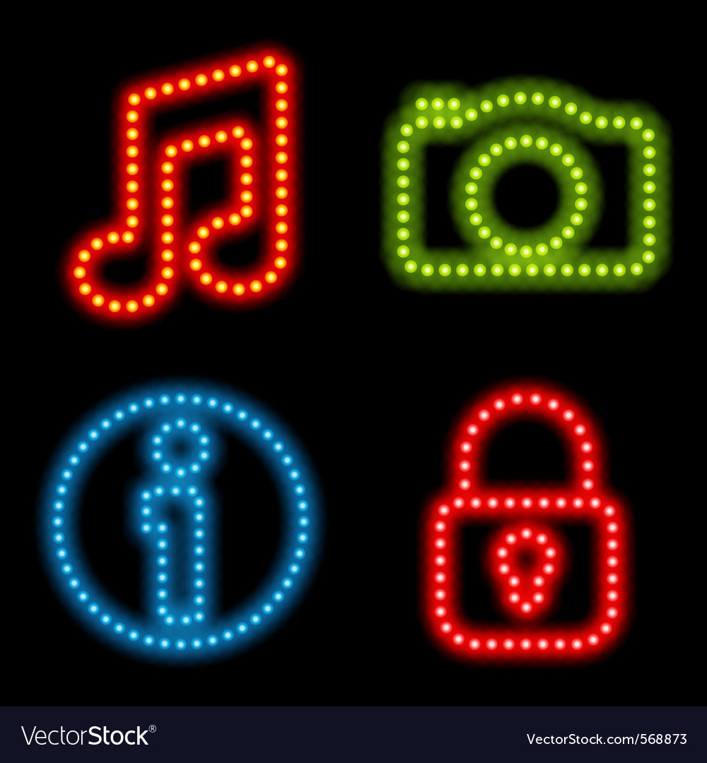 Neon icon set vector | Price: 1 Credit (USD $1)