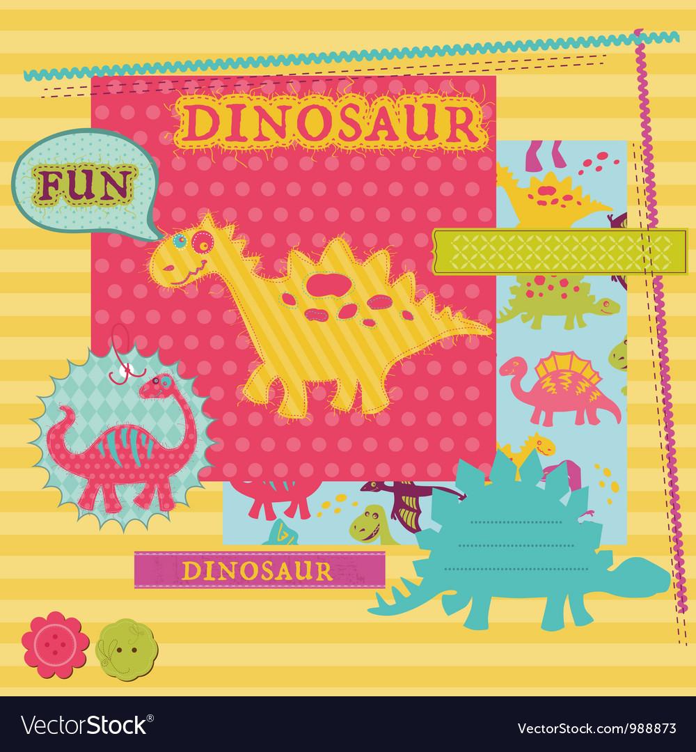 Scrapbook design elements - baby dinosaur set vector | Price: 1 Credit (USD $1)