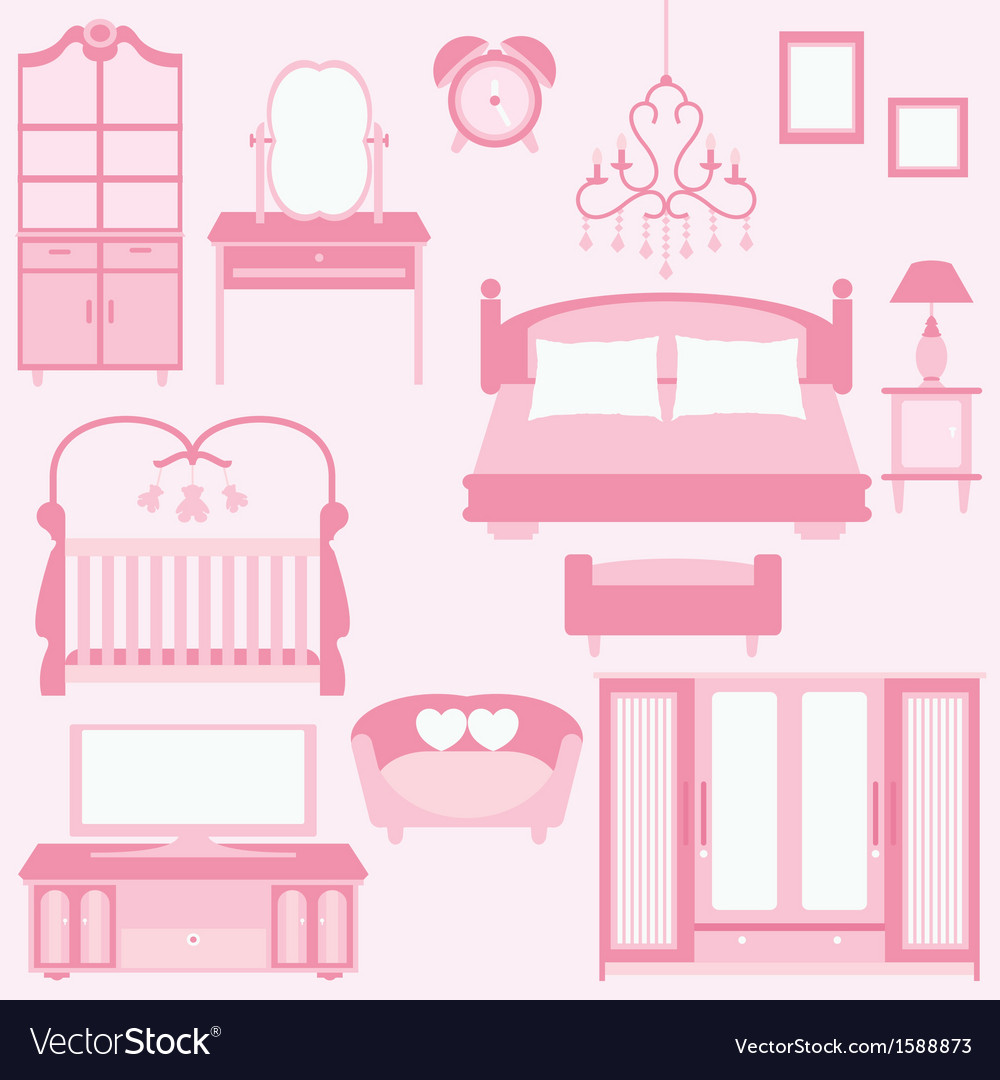 Set of furniture in bedroom vector | Price: 1 Credit (USD $1)