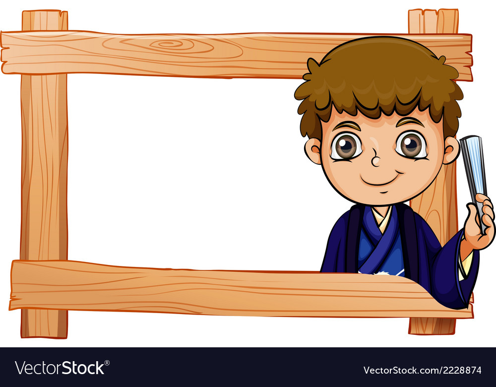 A wooden frame with a young boy vector | Price: 1 Credit (USD $1)