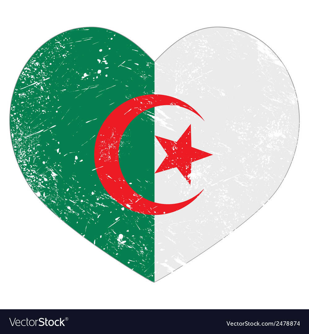 Algeria retro heart shaped flag vector | Price: 1 Credit (USD $1)
