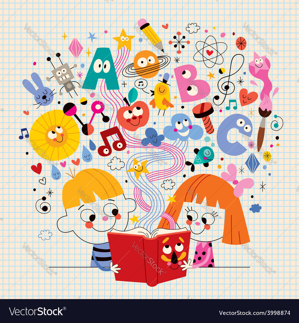 Boy and girl reading book education concept vector | Price: 1 Credit (USD $1)