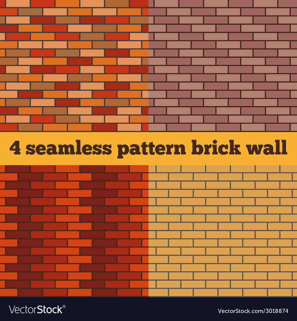 Brick wall set of seamless textures vector | Price: 1 Credit (USD $1)