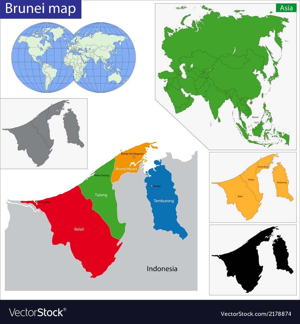 Brunei map vector   Price: 1 Credit (USD $1)