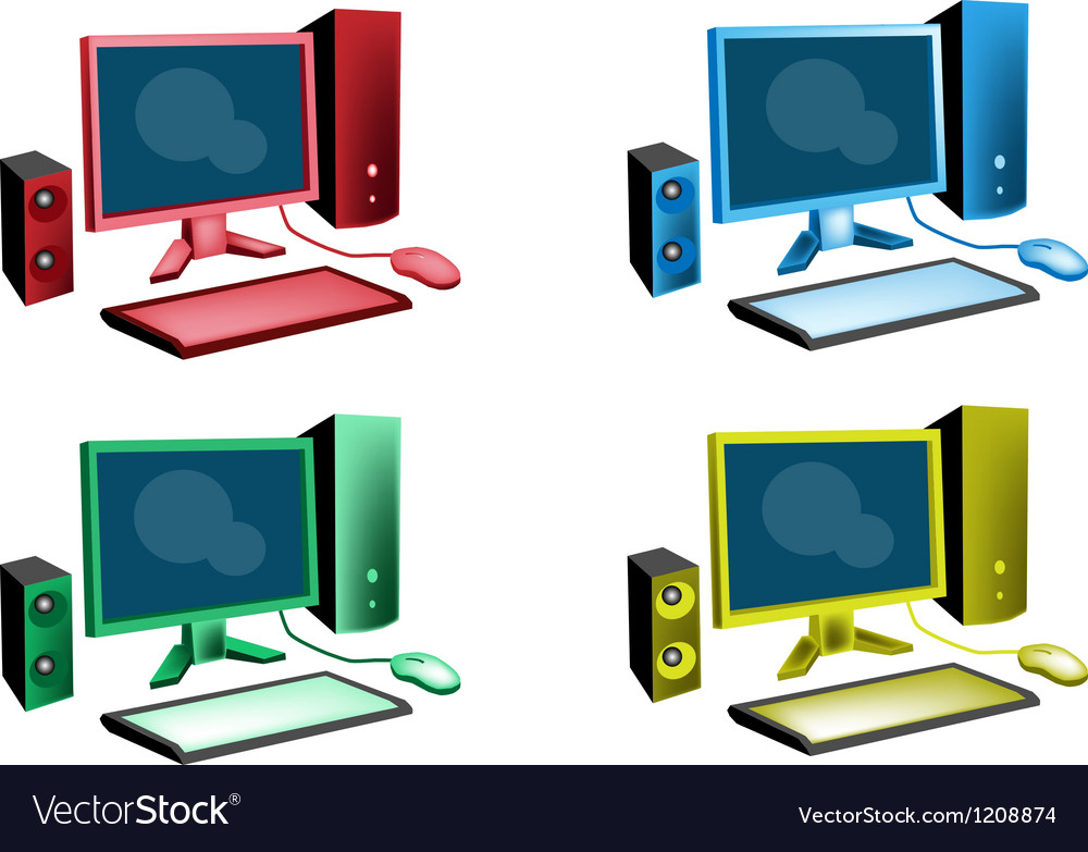 Colorful set of desktop computer icon vector | Price: 1 Credit (USD $1)
