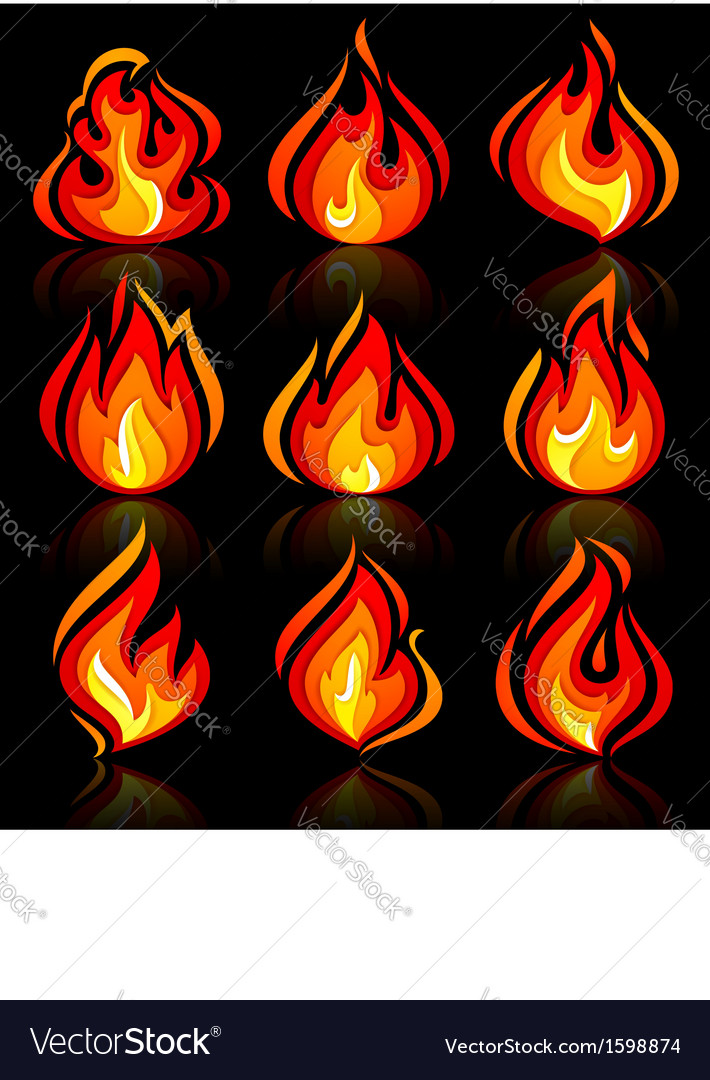 Fire flames new set with reflection on a vector   Price: 1 Credit (USD $1)