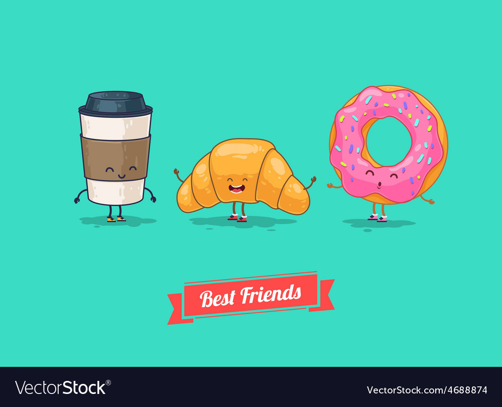 Funny cartoon funny coffee croissant vector | Price: 1 Credit (USD $1)