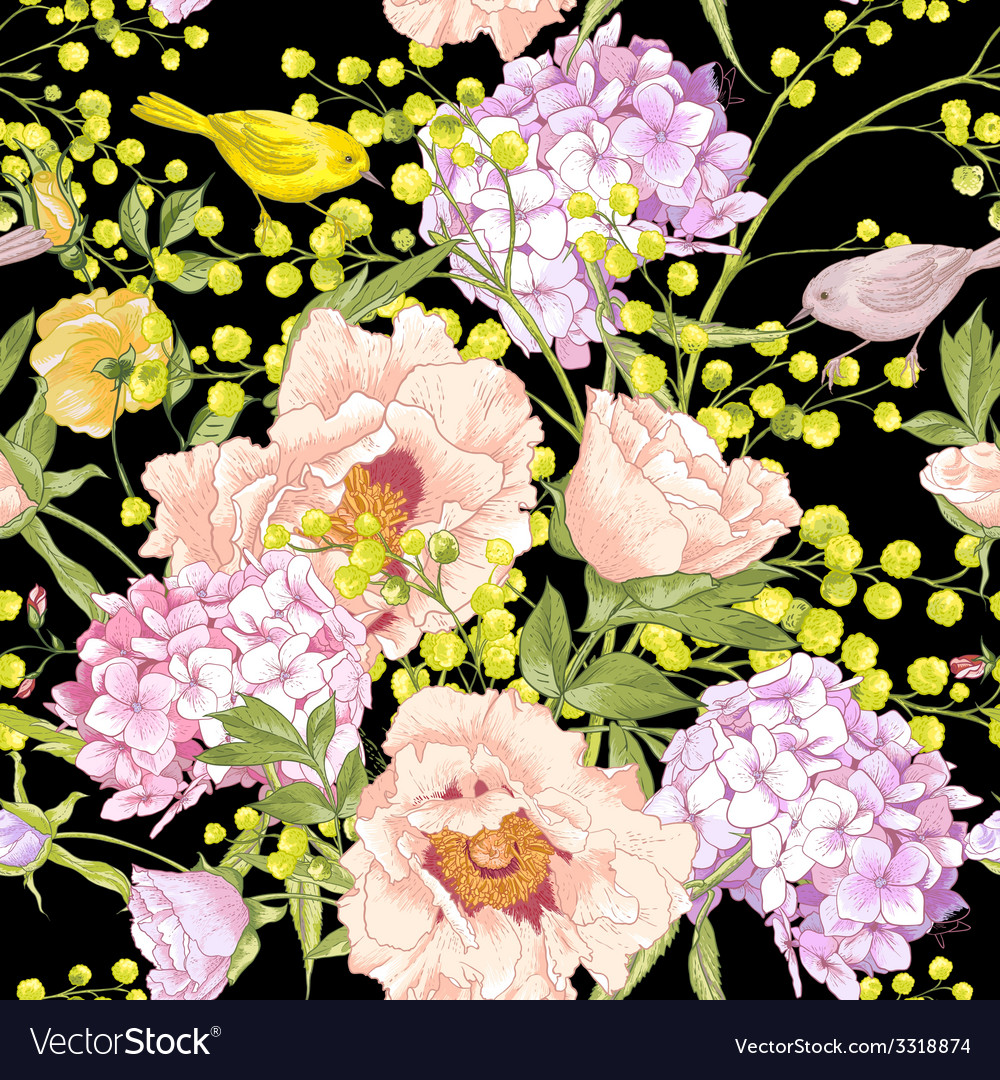 Gentle spring floral seamless background vector | Price: 1 Credit (USD $1)
