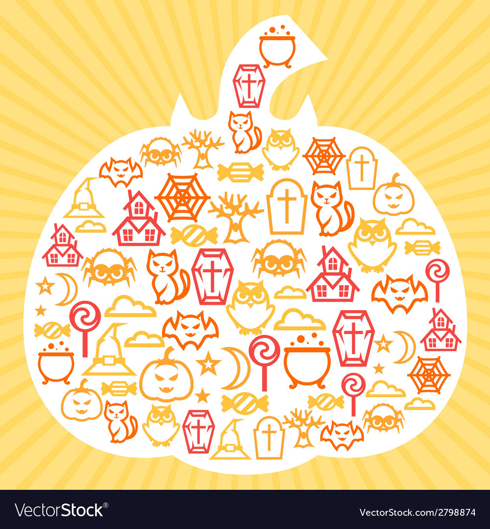 Happy halloween greeting card with flat icons vector | Price: 1 Credit (USD $1)