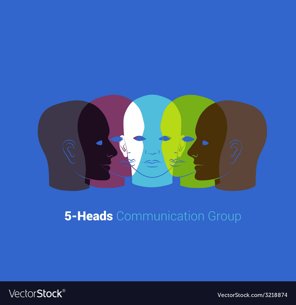 Human heads silhouettes group of people talking vector | Price: 1 Credit (USD $1)