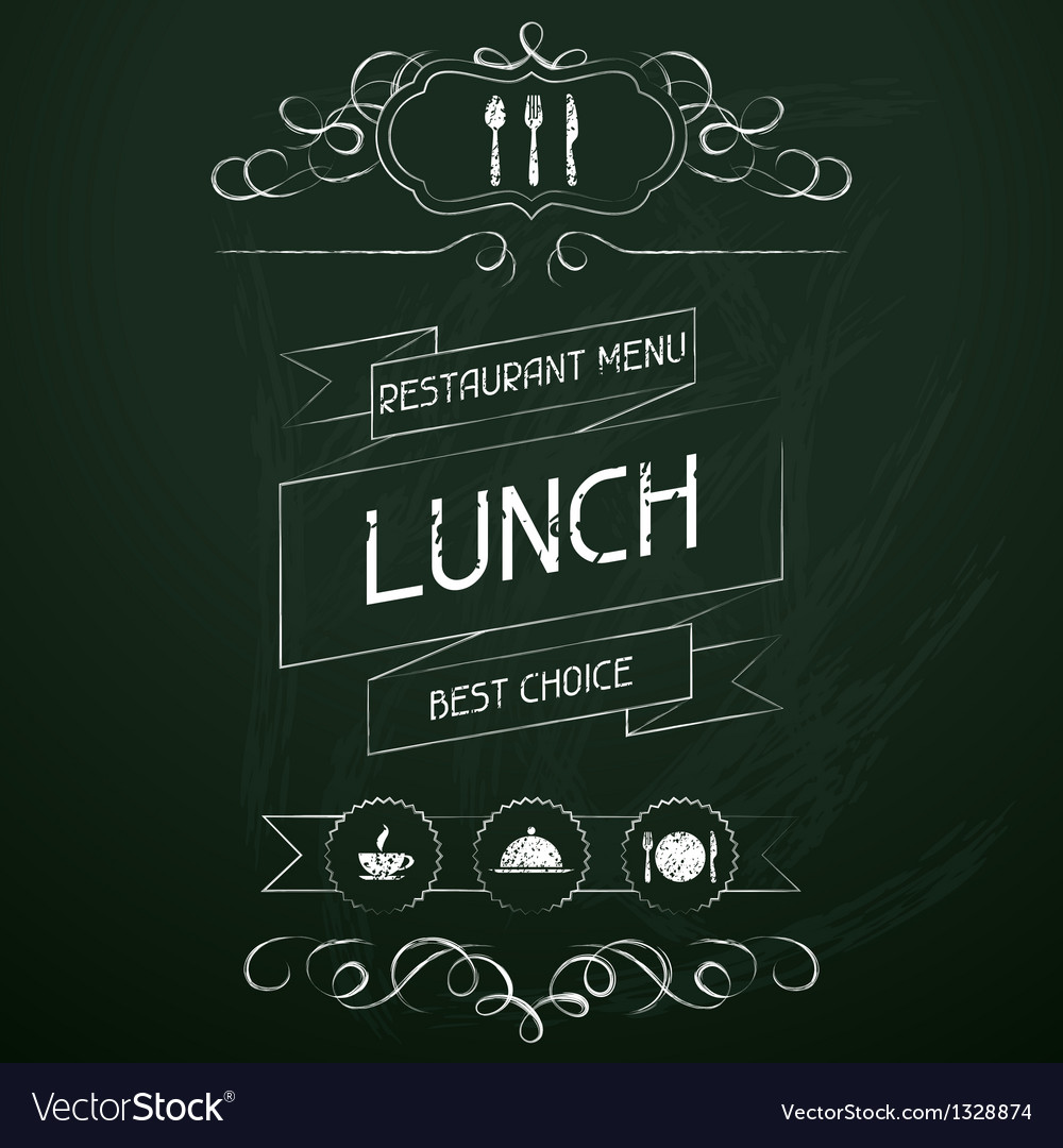 Lunch on the restaurant menu chalkboard vector | Price: 1 Credit (USD $1)