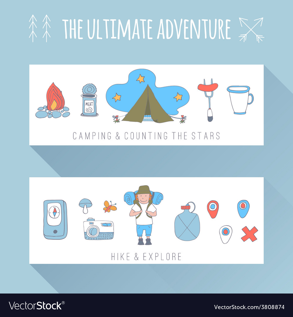 Set of doodle adventure banners vector
