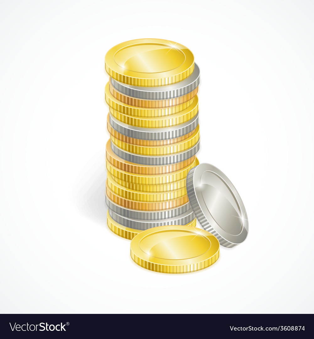 Stacks of golden and silver coins vector | Price: 1 Credit (USD $1)