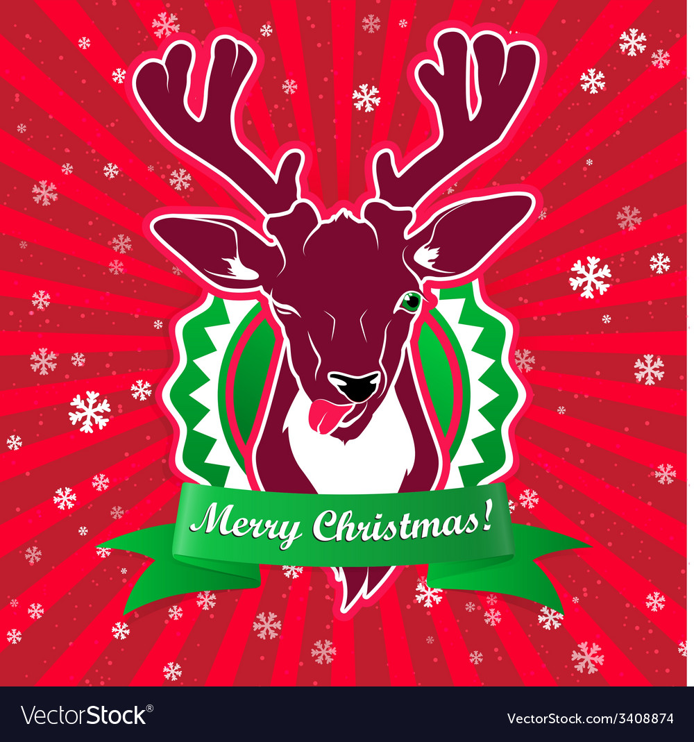 Winking and show its tongue deer with christmas vector | Price: 1 Credit (USD $1)