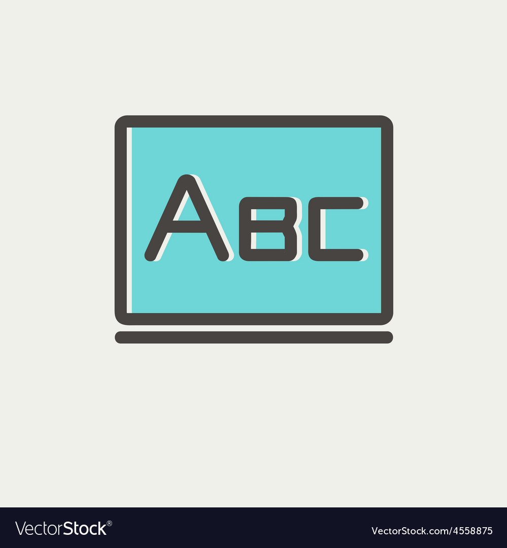 Big letters abc on the blackboard thin line icon vector | Price: 1 Credit (USD $1)