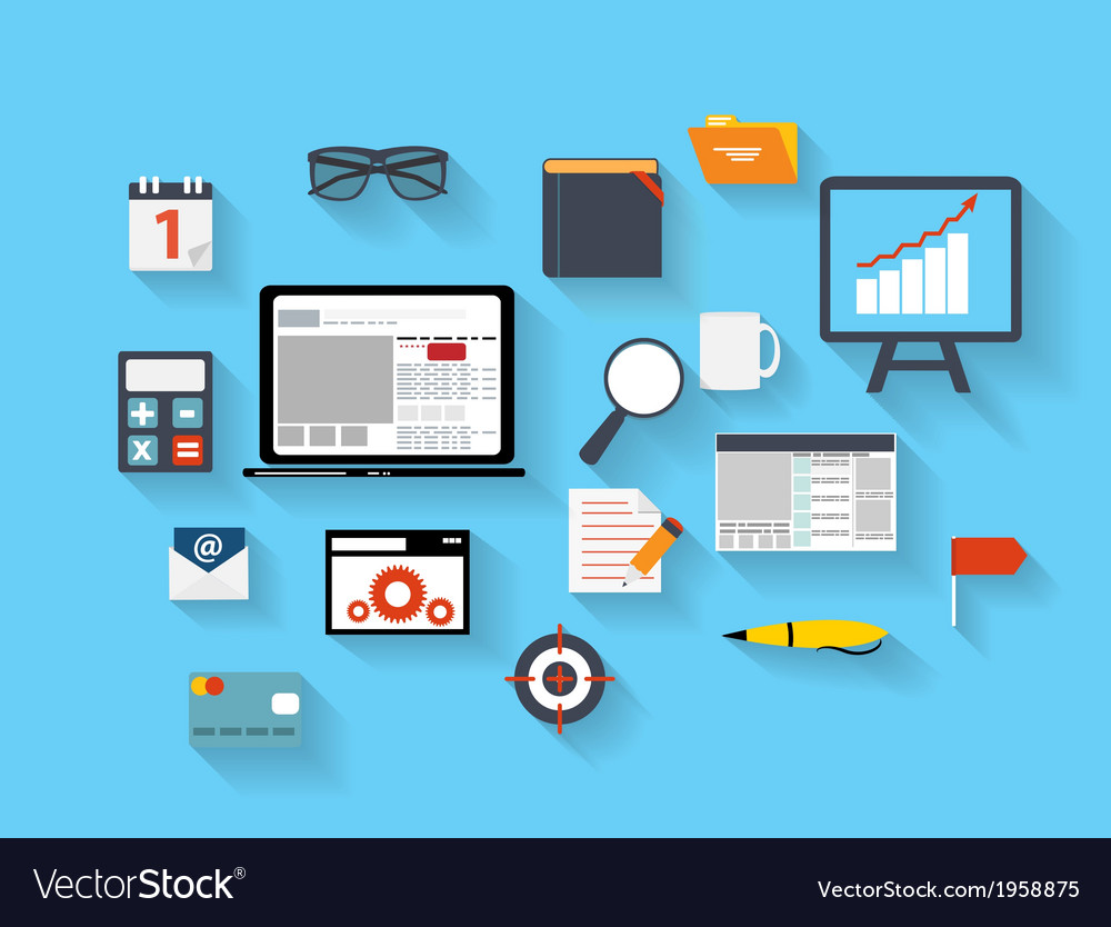 Business and office flat icons ilustration vector | Price: 1 Credit (USD $1)