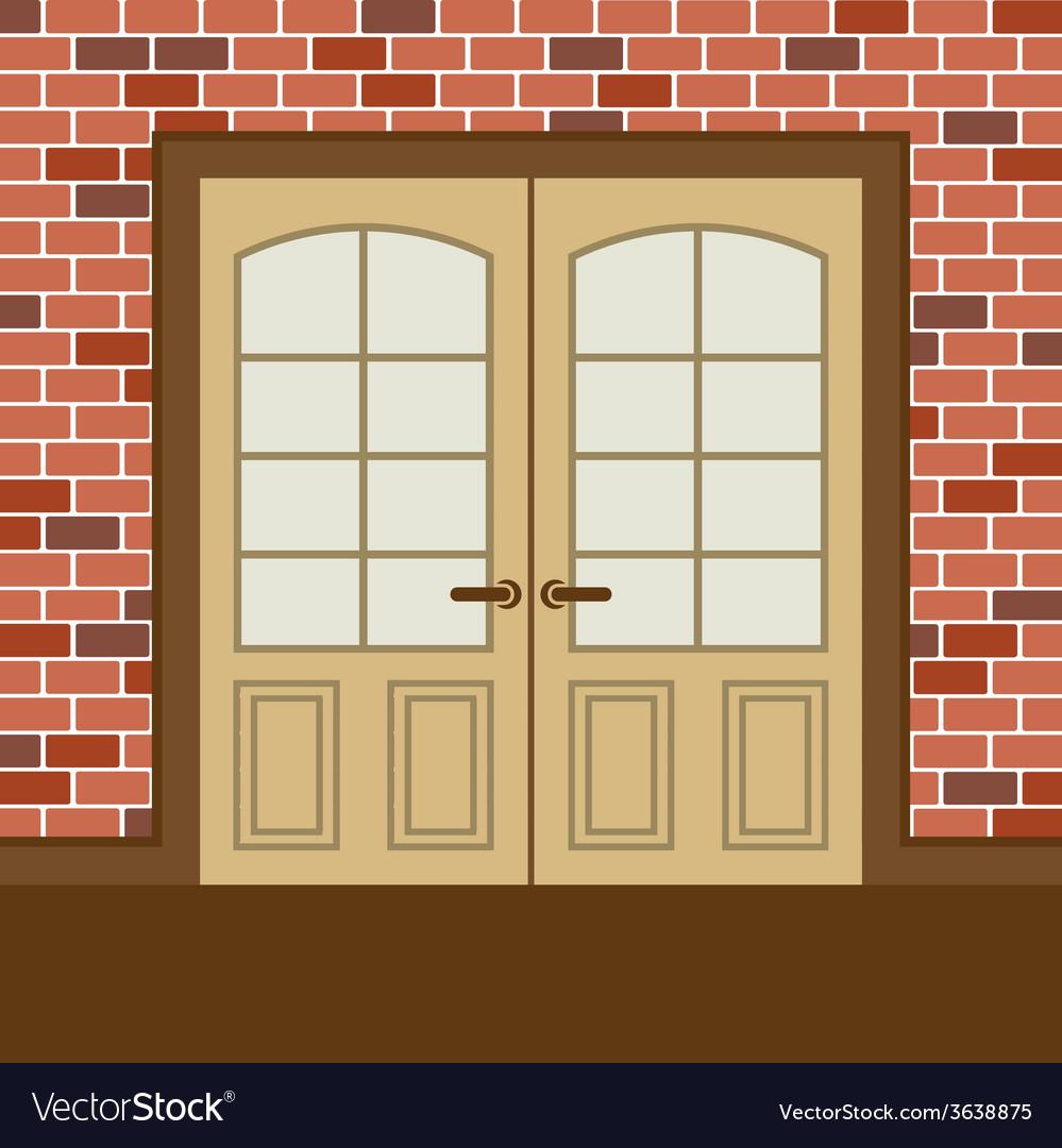 Flat design wooden double doors vector | Price: 1 Credit (USD $1)