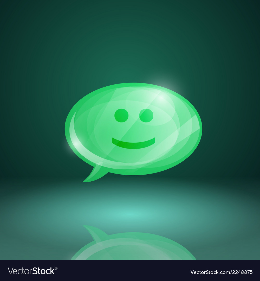 Glossy speech bubble icon with smile vector | Price: 1 Credit (USD $1)