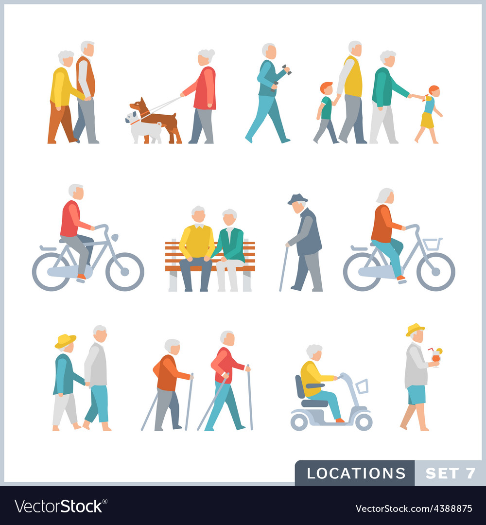 Older people on the street vector | Price: 1 Credit (USD $1)