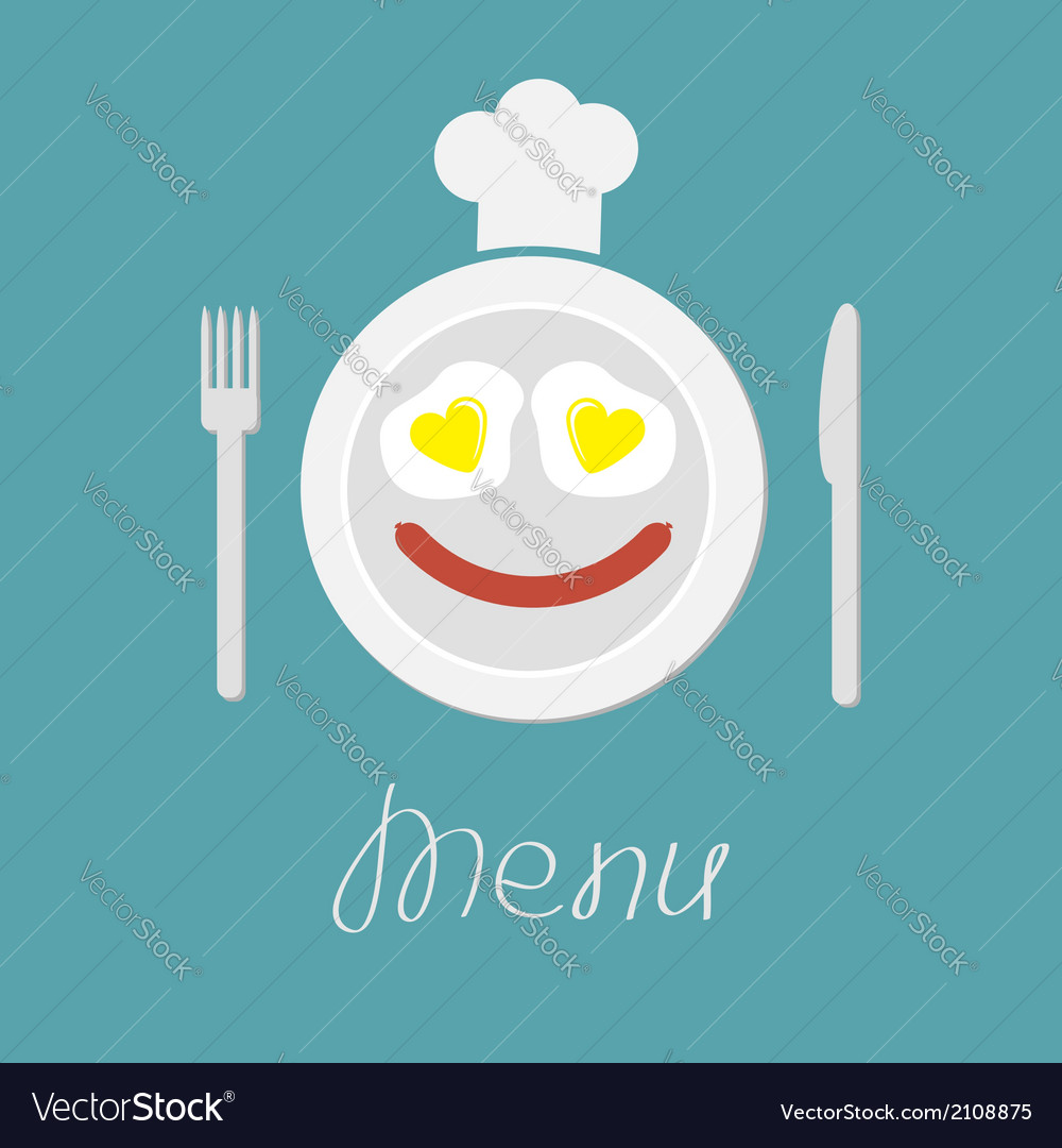 Plate with eggs heart and sausage fork knife hat vector | Price: 1 Credit (USD $1)